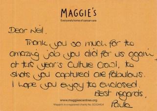 2018-07-16- Thank you from Paula at Maggies 2