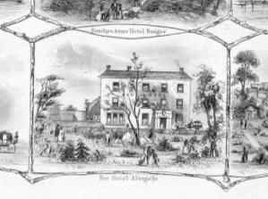 1860s engraving of Bee Hotel, Abergele