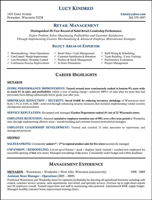 Retail Resumes Managers. manager resume sample retail store ...