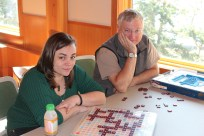 Dennis and I working on that Scrabble puzzle, started by Jeff about Cama.