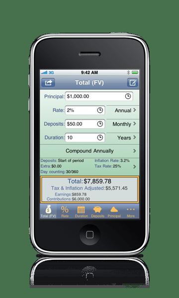 Foto de um celular com a tela exibindo o aplicativo Compoundee
