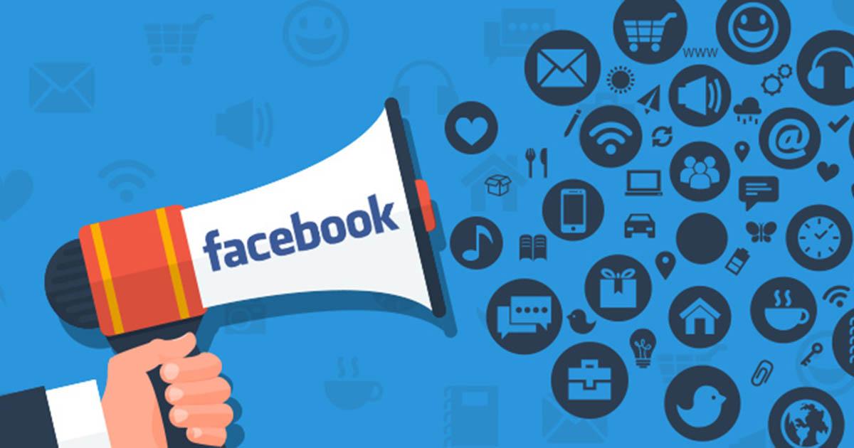 Ilustração de um megafone representando os anúncios do Facebook
