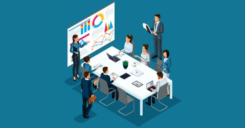 ilustração de uma apresentação com gráficos, e pessoas sentadas a uma mesa, representando a concorrência na contabilidade