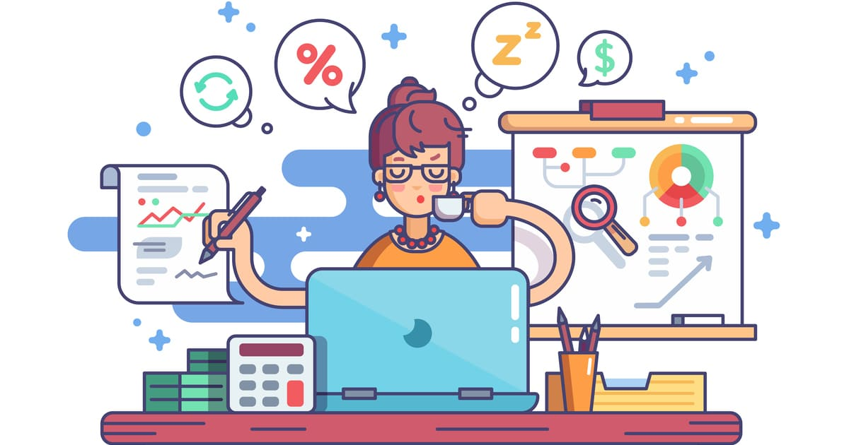 ilustração de uma contadora trabalhando, representando a importância do profissional contábil