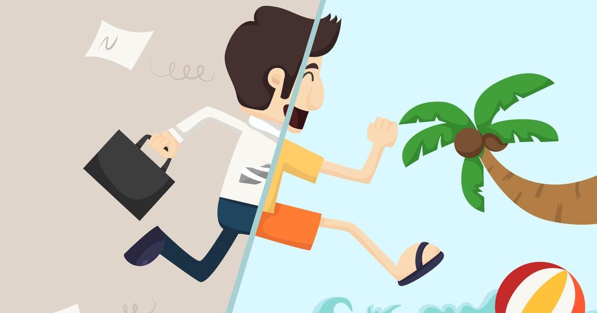ilustração de um homem saindo do trabalho e indo a praia, representando a Produtividade depois do feriado