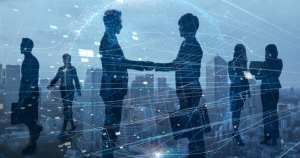 imagem que mostra diversos empresários firmando tipos societários