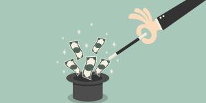 ilustração de uma mão tirando dinheiro de uma cartola, representando as dicas para encantar clientes