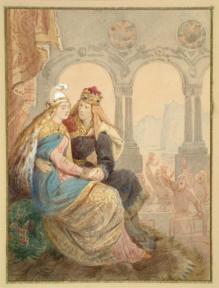 Prince and Princess, Johann Baptist Zwecker, ca. 1860-66, watercolour