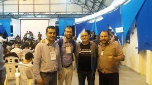O coordenador adjunto do IFSP, Sérgio, recebe os representantes da ABES no Centro de Convivência durante o encerramento das atividades da V Semana Nacional de Ciência e Tecnologia