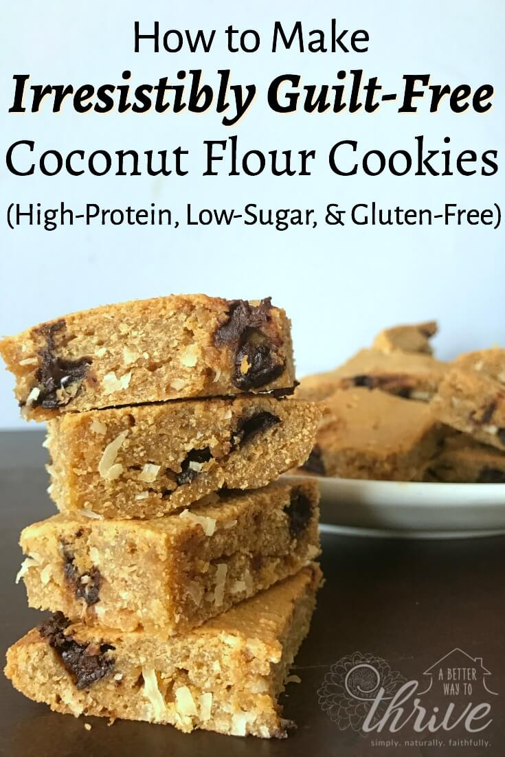 These coconut flour cookies are high-protein, low-sugar, and gluten-free. They're so good and good for you, you can even eat them for breakfast. Best of all, they're absolutely delicious and easy to make!  via @abttrway2thrive