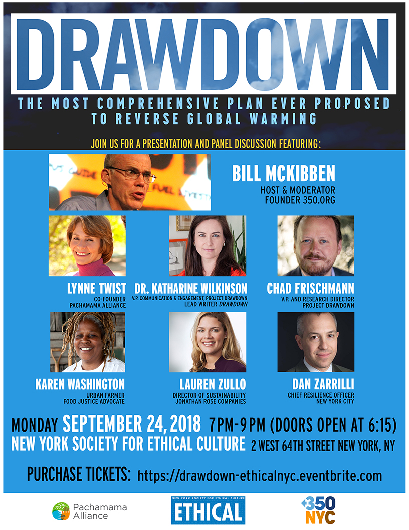 Paul Hawken's Drawdown – Event in NYC Sept. 24, Society for Ethical Culture