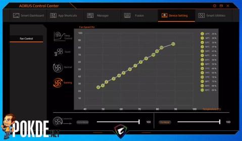 GIGABYTE AORUS 15G Review Control Center Fan Control