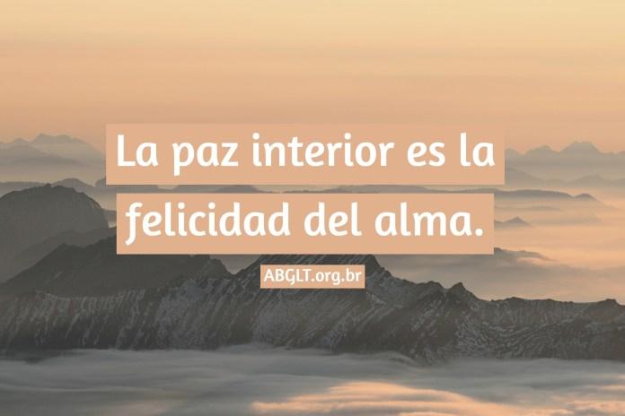 La paz interior es la felicidad del alma.