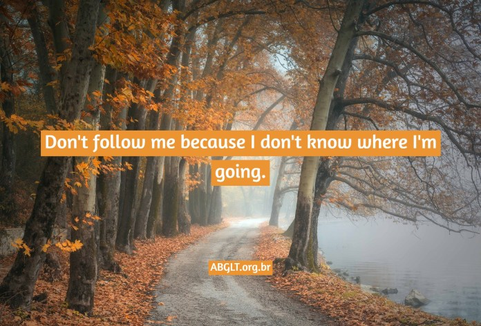 Don't follow me because I don't know where I'm going.