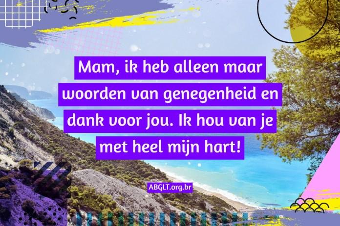 Mam, ik heb alleen maar woorden van genegenheid en dank voor jou. Ik hou van je met heel mijn hart!