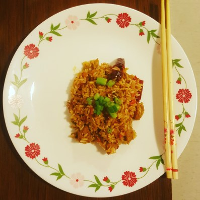 Schezwan Fried Rice with Soy chunks