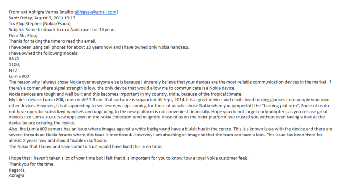 My email to Stephen Elop