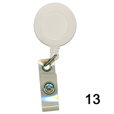 White Retractor for id card in Nylon thread quality in Round shape for executive, professional and business use. It can also be hanged along with the belt