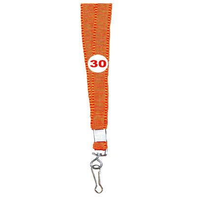 Orange Colour Flat Tags with Hook Attachement type. 16 Inches in Length and 14 mm wide. Printable with multiple colours with custom logo and names