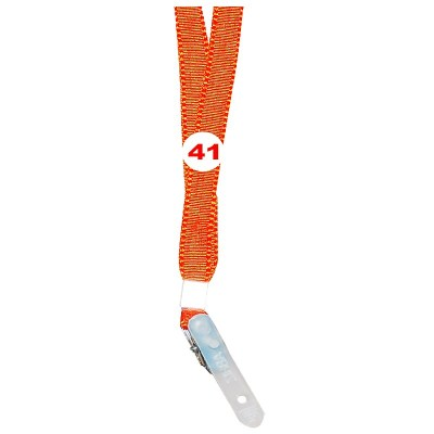 Orange Colour Flat Tags with Clip Attachement type. 16 Inches in Length and 14 mm wide. Printable with multiple colours with custom logo and names