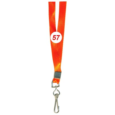 Orange Colour Saturn Tags with Hook Attachement type. 16 Inches in Length and 12 mm wide. Printable with multiple colours with custom logo and names