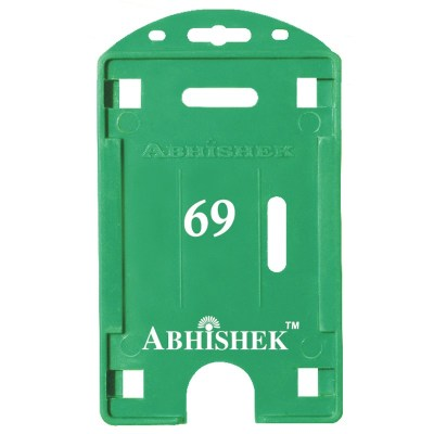 Double Hole Insert Holder of size 54x86 mm in Green Colour and Vertical OrientationIt is ideal for business, schools and organization for all there ID card needs. Not only it protects the keep the id cards safe but also provides high branding value and p