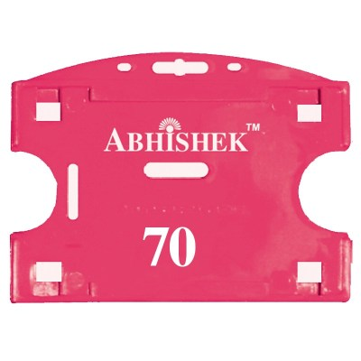 Double Hole Insert Holder of size 54x86 mm in Pink Colour and Horizontal OrientationIt is ideal for business, schools and organization for all there ID card needs. Not only it protects the keep the id cards safe but also provides high branding value and