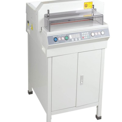Electrical paper cutter Office Supply Cutting size : 450 mm/480 mm,Cutting thickness : 40 mm/50 mm,Cutting precision :0.5 mm,Pressing paper/pushing paper :Auto,Power : 900W/1000W AC200V(110V)00% 50Hz(60Hz),Net weight : 115kg/140kg,Machine size : 102x78x6