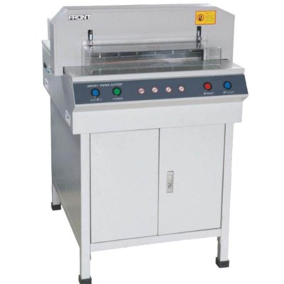Numerical-control electrical paper cutter Office Supply Cutting size :450 mm,Cutting thickness:40 mm,Cutting precision:0.3 mm,Pressing paper/pushing paper :Auto,Power :1.5KW AC200V(110V)00% 50Hz(60Hz),Net weight :115kg,Measure :88x70x74 cm
