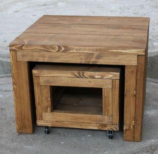 bijzettafel steigerhout beits olie salontafel verrijdbaar verrijdbare inschuifbare inschuifbaar