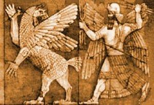 Marduk killing Tiamat bas relief