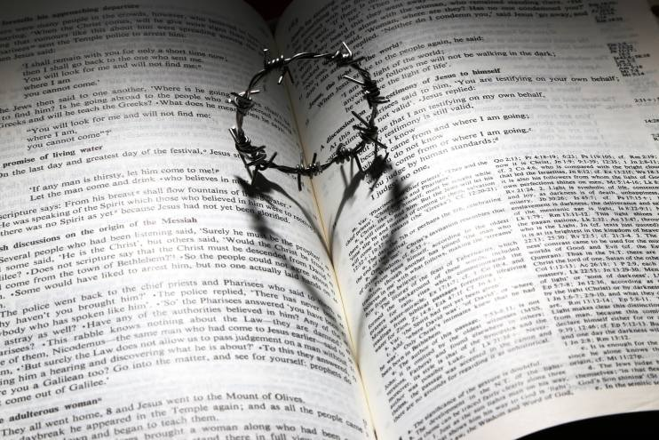 Bible with heart picture.
