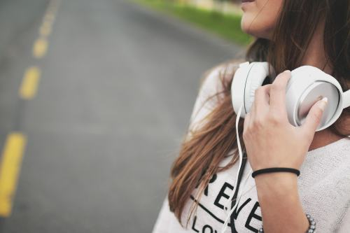 Girl with headphones.