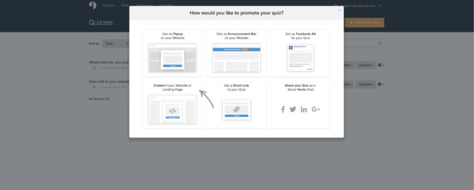 Screenshot of Desktop - Showing where to select the embed option