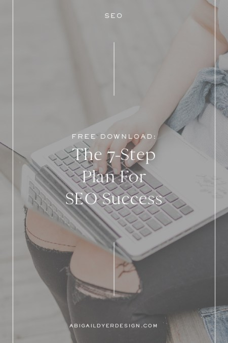 woman sitting on bench typing on laptop with text overlay – the 7-step plan for SEO success
