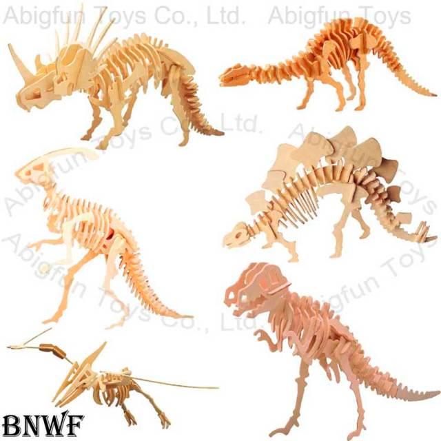 ... model, wood dinosaur craft, wooden construction kit, stegosaurus model