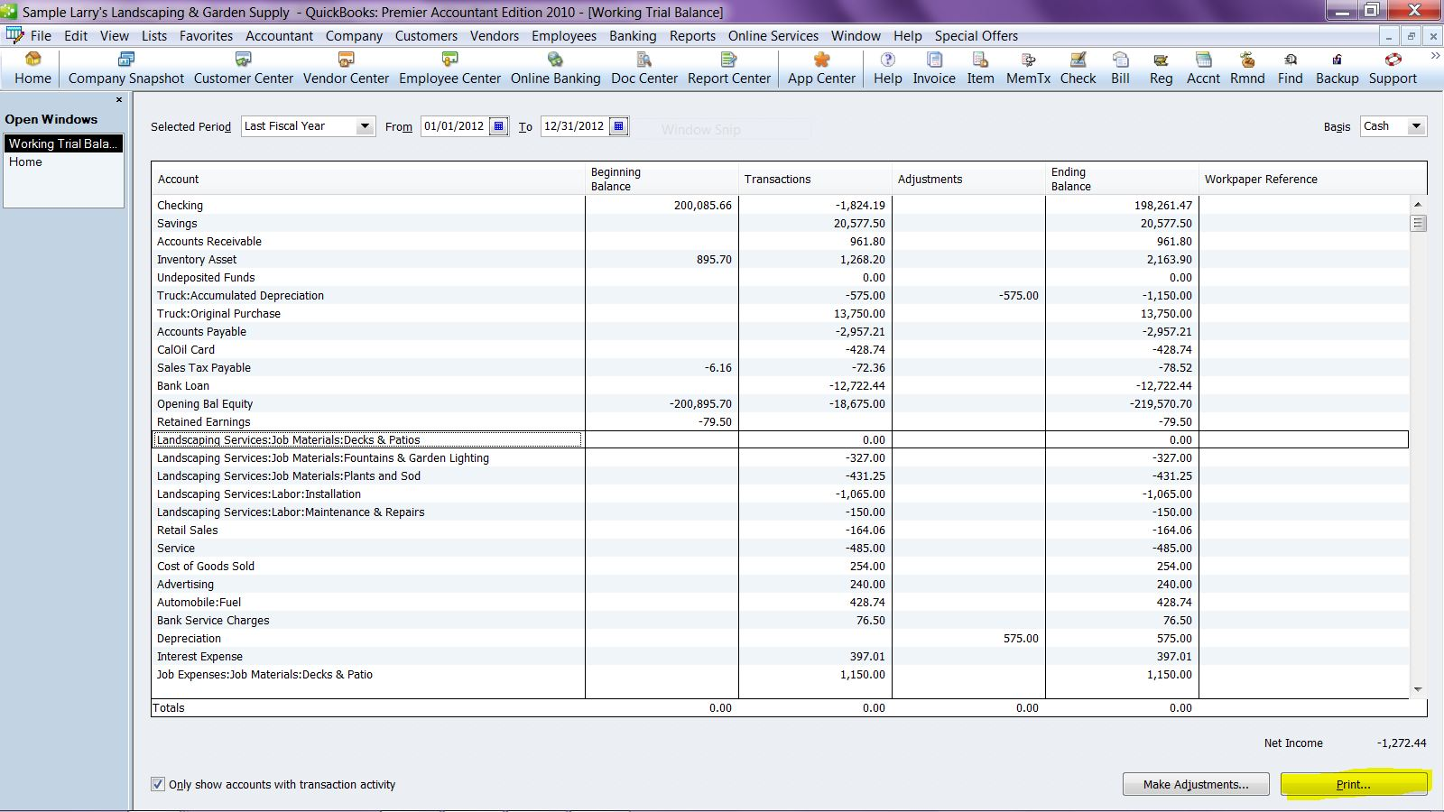 For The Pro S Export Working Trial Balance To Excel