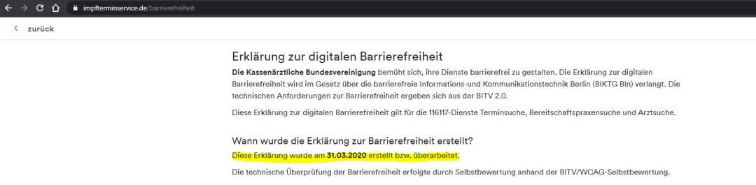 Screenshot impfterminservice.de - Text: Wann wurde die Erklärung zur Barrierefreiheit erstellt? Diese Erklärung wurde am 31.03.2020 erstellt bzw. überarbeitet.