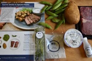 steak and greens with a delicious Lebanese yogurt tarragon sauce