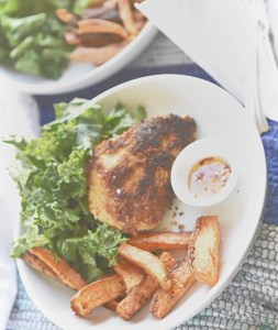 Crispy chicken with sweet potato fries