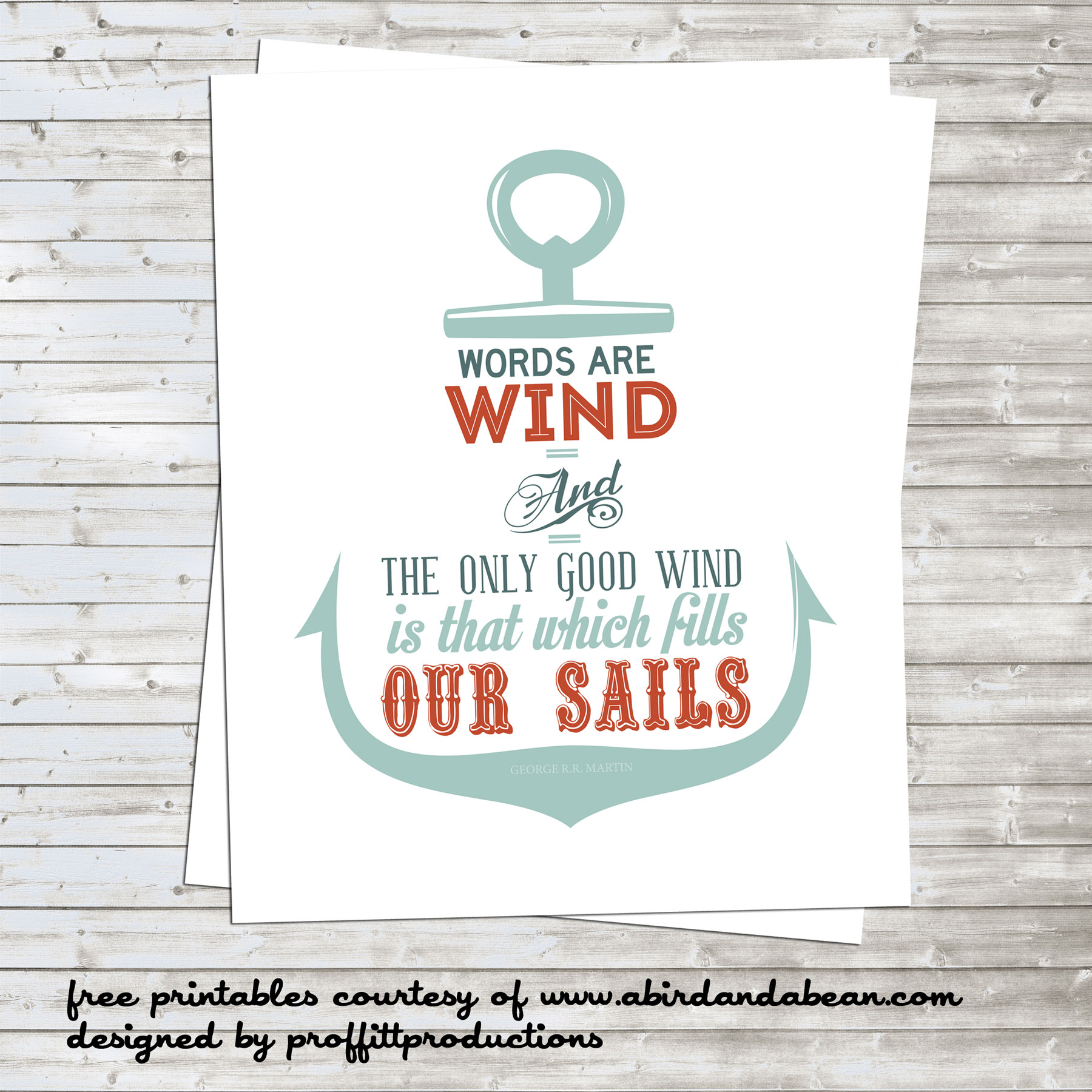 Free Printable Nautical Anchor With Game Of Thrones Quote