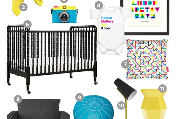 Project Nursery: Colour Matters, You Know (CMYK) Nursery Style Board. A little quirky, a little fun, a lot of colour. www.abirdwithafrenchfry.com #nurserystyle #cmyk #design #interiors