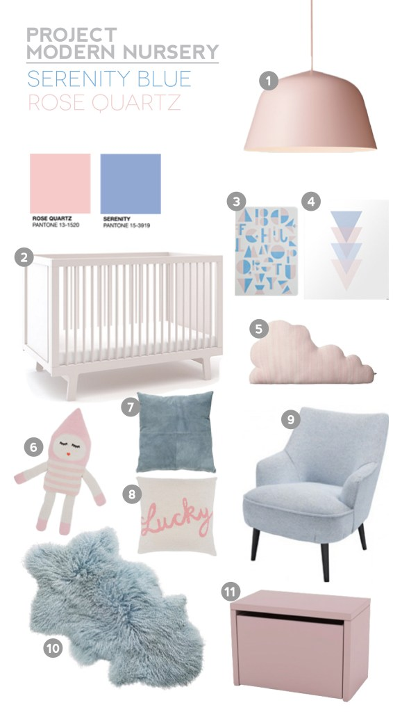 Project Modern Nursery: Pantone Colours 2016 Serenity Blue & Rose Quartz