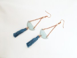 A Bird with a French Fry - Drop Tassel Earring Blue Frost & Rose