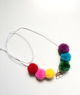 A Bird with a French Fry - Rainbow Pom Pom Necklace