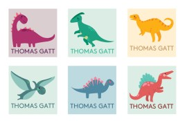 A Bird with a French Fry - Personalised Name Labels - Dino Mite