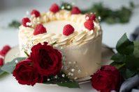 vegan white Oreo and raspberry cake
