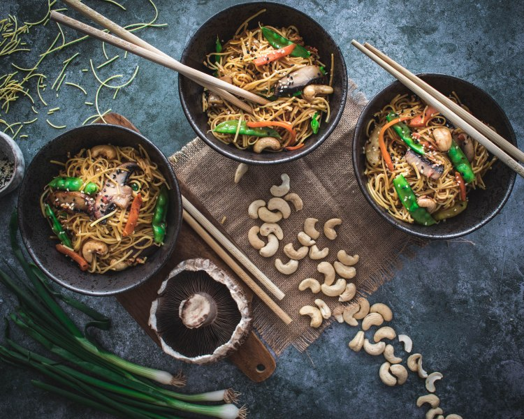 Asian style noodle stir-fry with mangetout beans