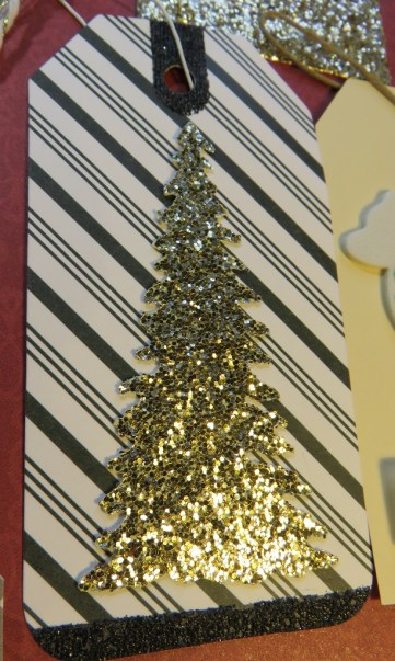 gold glitter tree die cut