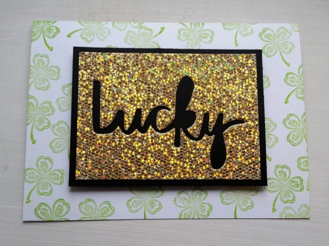 A Bit Of Glue & Paper card green stamped four leaf clover, die cut lucky sentiment gold on black paper; Color Throwdown 434 - Vancouver BC